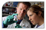 Image of Dr. Phillip Dennis and doctoral candidate  Courtney Granville, Medical Oncology Branch