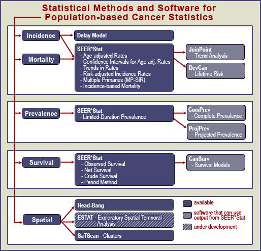Diagram of SRAB's Statistical Methods and Software for Population-based Cancer Statistics