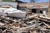 Debris awaits removal in Galveston, Texas, following hurricane Ike