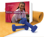 Graphic collage of the Exercise Guide book, dumb bells and an exercise mat