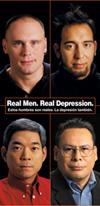 Cubierta del folleto: Real Men. Real Depression. Estos hombres son reales. La depresión también