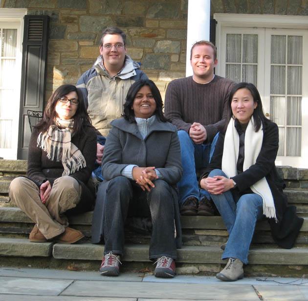Lab lunch November 2007: (left to right, top) Patrick Boyle, Matthew Emmett (bottom) Nellie Moshkovich, Parul Nisha, Elissa Lei