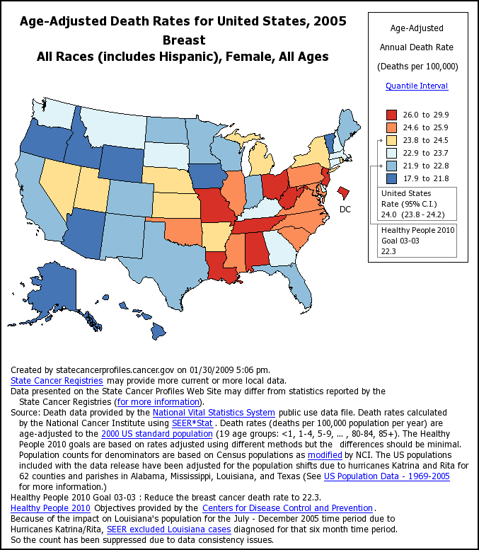 United States map showing age-adjusted death rates by state.