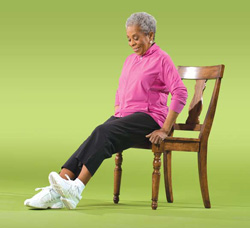 Photo of a woman doing ankle exercises