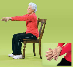 Photo of a woman doing upper back exercises