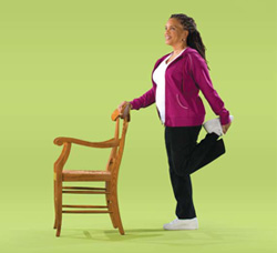Photo of a woman doing thigh standing exercises
