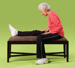 Photo of a woman doing back of leg exercises