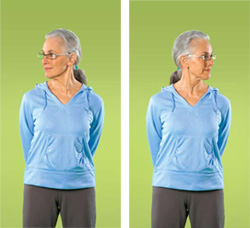 Photo of a woman doing neck exercises