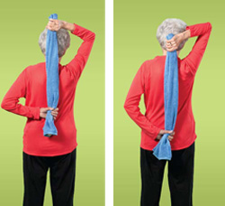 Photo of a woman doing shoulder and upper arm exercises