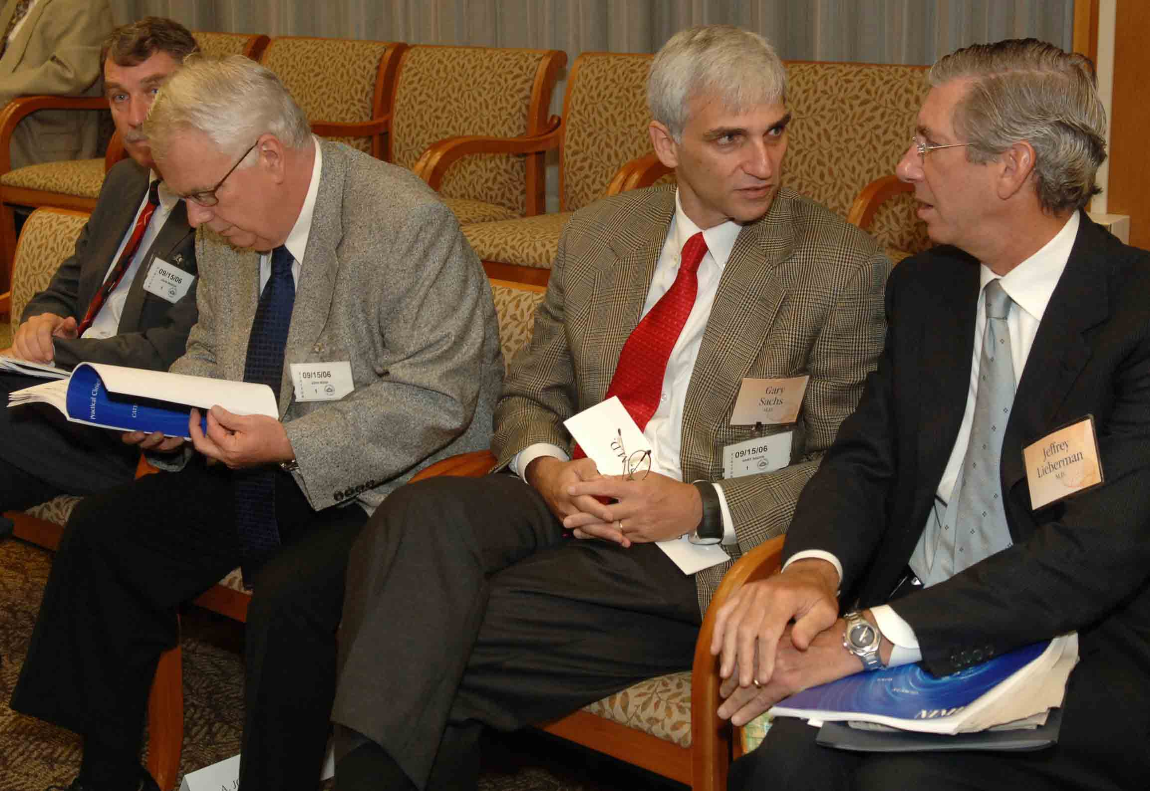 Photo of Doctors John March, A. John Rush, Gary Sachs, and Jeffrey Lieberman, clinical trial presenters