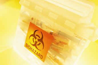 Medical supplies with biohazard label