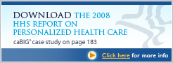 Download the 2008 HHS Report on Personalized Health Care - caBIG case study on page 183 - Click here for more info