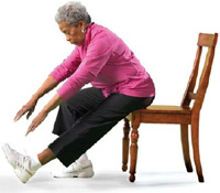 Photo of a woman doing an exercise in a chair