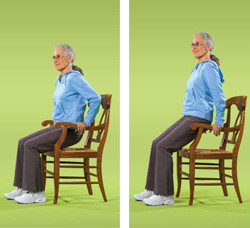 Photo of woman doing chair dip exercise