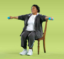 Photo of woman doing side arm raise exercise