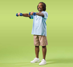 Photo of man doing front arm raise exercise