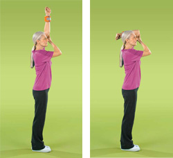 Photo of woman doing elbow extension exercise