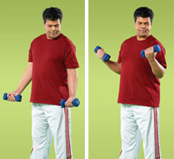 Photo of man doing arm curl exercise