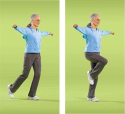 Photo of woman doing balance walk exercise
