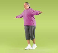 Photo of woman doing heel-to-toe walk exercise