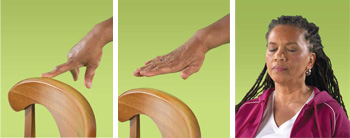 photos of finger on chair, hand above chair, and woman with eyes shut