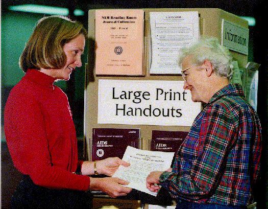 Display of large-print handouts