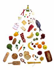 Photograph of healthy foods arranged in a pyramid