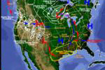 Image of current storms overlayed on a US map