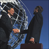 Business Men With Globe