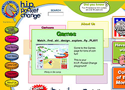 Screen shot of H.I.P. Pocket Change's home page.