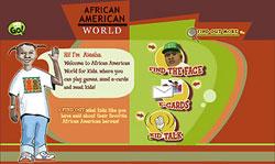 Screenshot of African American World for Kids' website.