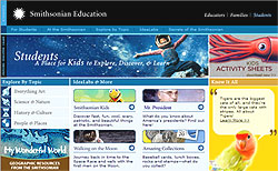 Screenshot of the Smithsonian Education for Students home page
