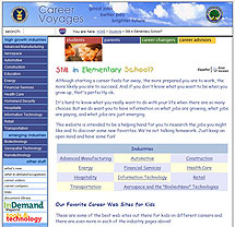 Screenshot of Career Voyages' Elementary Students Page website.