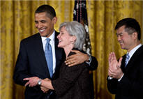 photograph of Kathleen Sebelius with President Obama