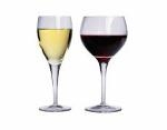 Photograph of glasses of white and red wine