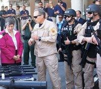 Secretary Napolitano on border with ICE agents.