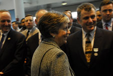 Secretary Napolitano congratulates recipients of Coast Guard public service awards at a ceremony honoring first responders during the US Airways Flight 1549 crash in the Hudson River.
