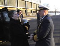 Secretary Napolitano is greeted by Coast Guard Commandant Adm. Allen as she arrives at Coast Guard Headquarters. (U.S. Coast Guard photo/PA2 Dan Bender)