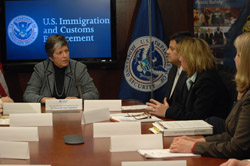 Secretary Napolitano meets with senior leadership from U.S. Immigration and Customs Enforcement. Pictured are Secretary Napolitano; Acting Assistant Secretary John Torres; Marcy Forman, Director Office of Investigations; and Susan Lane, Director Office of Intelligence. (ICE Photo/Caffrey)