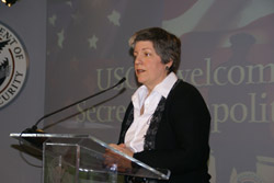 Secretary Napolitano greets employees at U.S. Citizenship and Immigration Services (USCIS) headquarters in Washington, D.C. where she receives briefings from the three USCIS directorates. (USCIS Photo/Buckson)