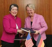 Signing ceremony with Secretary Napolitano and Annette Schavan, the German Minister of Science and Education
