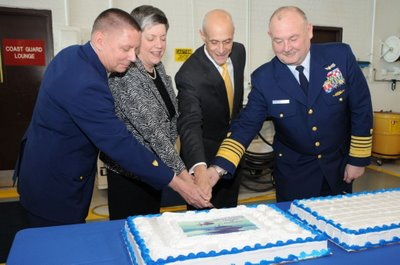 Master Chief Petty Officer of the Coast Guard Charles Bowen, Homeland Security Secretary Janet Napolitano, former Secretary Michael Chertoff and Commandant of the Coast Guard Admiral Thad Allen at the Coast Guard Service Secretary Transfer of Authority Ceremony in Washington, D.C., March 23, 2009.