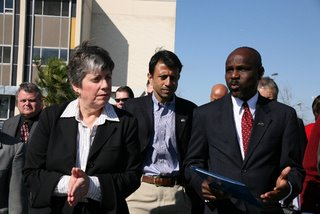 Janet Napolitano, Secretary of the Department of Homeland Security (from left), talks with Gov. Bobby Jindal, from the State of Louisiana, and Victor Ukpolo, vice-chancellor from Southern University in New Orleans. Photo USCG