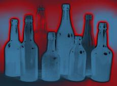 Illustration of various glass bottles