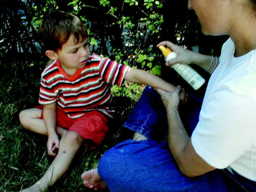 Parent carefully applying insect repellent spray to the exposed skin of their child.