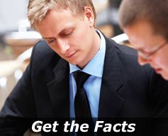 """Businessman reviews information - """"Get the Facts"""""""