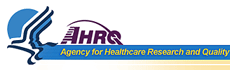 HHS logo - stylised bird with negative space of human faces, AHRQ title
