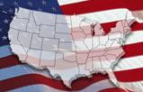 U.S. map and American flag