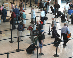 Photo of a security line in an airport