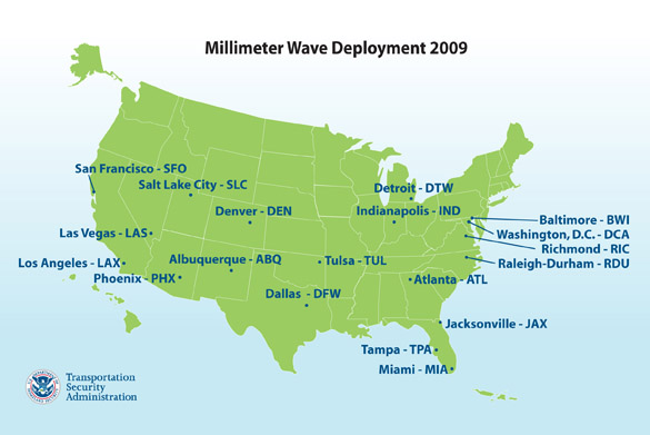 Millimeter Wave Technology airport locations across the United States.